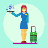 Stewardess icon flat Stock Photos