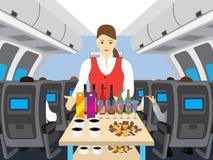 Stewardess im Salon der Fläche Stockfotos
