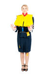 Stewardess in a life jacket Stock Image