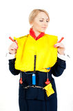 Stewardess in a life jacket Stock Photography