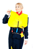 Stewardess in a life jacket Stock Photos
