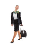 Stewardess with luggage bags stock photography