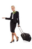Stewardess with luggage bags Royalty Free Stock Photos
