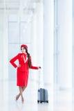 Stewardess with luggage Royalty Free Stock Image