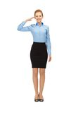 Stewardess making salute gesture Royalty Free Stock Photography