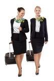 Stewardess med bagage Fotografering för Bildbyråer