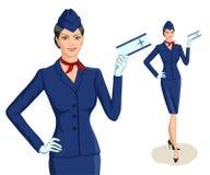 Stewardess med biljetten stock illustrationer