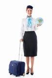 Stewardess med ett jordklot Arkivfoton