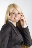 Stewardess met oortelefoons stock fotografie