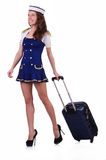 Stewardess mit Gepäck Stockfotos