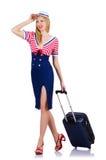 Stewardess mit Gepäck Lizenzfreies Stockfoto