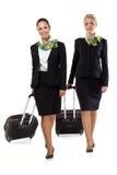 Stewardess mit Gepäcktaschen Stockbild