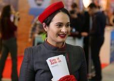 Stewardess at National Tourism Fair of Romania, 2018 Royalty Free Stock Photo