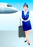 Stewardess no aeroporto Foto de Stock Royalty Free