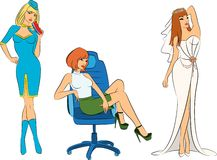 Stewardess, noiva e mulher de negócios ilustração do vetor