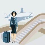 Stewardess novo com uma mala de viagem ilustração stock