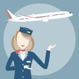 Stewardess och flygplan royaltyfri illustrationer