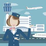 Stewardess på bakgrunden av flygplatsen och flygplan royaltyfri illustrationer