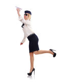 Stewardess with paper airplane Stock Photography