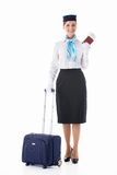 Stewardess with a passport Royalty Free Stock Photo