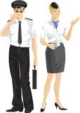 Stewardess and pilot Stock Photos