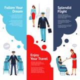 Stewardess-And Pilot Banners-Satz stock abbildung