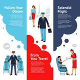 Stewardess And Pilot Banners Set Royalty Free Stock Photography