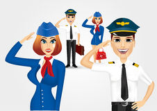 Stewardess and pilot saluting Stock Image