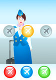 Stewardess with plane icon Royalty Free Stock Image