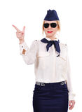 Stewardess pointing finger Stock Photography