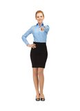 Stewardess pointing her finger Royalty Free Stock Image