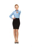 Stewardess pointing her finger Stock Image