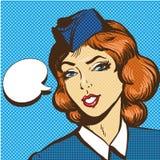 Stewardess pop art retro comic style vector illustration Royalty Free Stock Photo