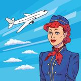 Stewardess in pop art style. Background plane takes off. Floating in clouds airplane. Welcome aboard. Vector. Illustration in comic style. EPS 10 Stock Photo