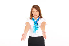 Stewardess presenting safety instr Stock Image