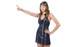 Stewardess pressing virtual button Royalty Free Stock Photo