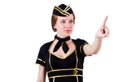 Stewardess pressing virtual buttons Stock Images