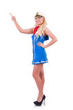 Stewardess pressing virtual buttons Royalty Free Stock Image