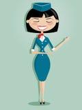 Stewardess retro dos desenhos animados ilustração stock