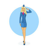 Stewardess Salute Airline Crew Royalty Free Stock Photo