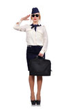 Stewardess salutes Stock Images