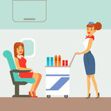 Stewardess Serving Drinks To Plane Passengers, Part Of People Taking Different Transport Types Series Of Cartoon Scenes Royalty Free Stock Photo