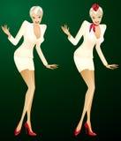 Stewardess 'sexy' em duas versões ilustração stock