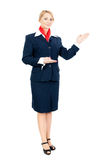 Stewardess showing something Royalty Free Stock Image
