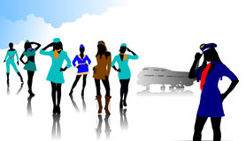 Stewardess silhouettes Royalty Free Stock Photography