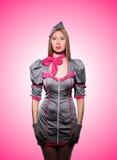 Stewardess tegen de gradiënt Royalty-vrije Stock Foto
