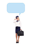 Stewardess thinking Royalty Free Stock Images