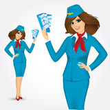Stewardess with tickets Stock Photography