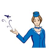 Stewardess in  uniform showing an abstract plane. Beautiful woman stewardess in sky blue uniform showing an abstract plane fly. Vector hand drawn illustration Royalty Free Stock Images
