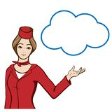 Stewardess in  uniform showing a speech bubble. Beautiful woman stewardess in red uniform showing at blank speech bubble. Vector hand drawn illustration Royalty Free Stock Image